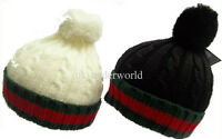 Mens Ladies Designer Cable Knitted Beanie Hat Bobble Pom Pom Ski Winter Warm Cap