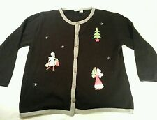 Collections Etc Ugly Christmas Sweater Black Size XXL 2X Trees Shoppers Presents