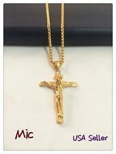 """Jesus Stainless Steel Gold 3mm Wheat Braided Chain Cross Pendant 24"""" Necklace"""