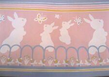 Wallpaper Border Bunny Rabbits Butterflies Pink Blue Children Nursery Wall