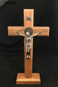 Large Standing Religious Wooden Cross with Jesus- Brown