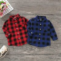 Christmas Toddler Baby Girl Boy Clothes Plaid Long Sleeve Top Shirt Coat Jacket