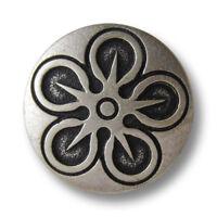 Trachtenknöpfe aus Metall mit drei Edelweißen 5 edle altsilberfb j095as-19