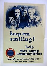 1918 WWI War Poster Keep em Smiling Help War Camp  by M. Leone Bracker Large!