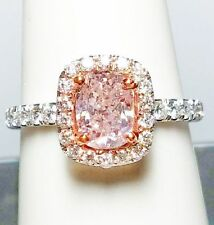 1.50ct Natural Fancy Pink Diamonds Platinum Ring GIA 1.00ct Center Engagement