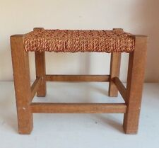Old Footstool Foot Rest Wooden Frame Legs Seagrass Weaved String Top Furniture H