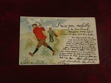 ORIGINAL PHIL MAY SIGNED TUCK GOLFING POSTCARD - I MISS YOU AWFULLY - No. 1008.