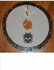 "DAMASK SKULL  Embroidered Tree Skirt, Lamp Skirt 18""dia,Halloween,Prim,Goth"