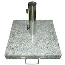 Sonnenschirmständer 35kg Granit grau poliert rund Edelstahl Ø50cmTrolleyfunktion