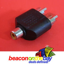 1 RCA Female Socket to 2 RCA Male ADAPTER RCA Cable Connector Splitter Extender
