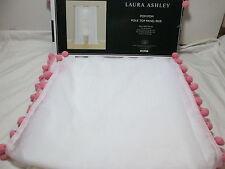 "New Laura Ashley Pink Pom Pom Pole Top Sheer Panel Pair Two 40""x84 ~  White NIP"