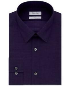 Calvin Klein Mens Purple 17 32 33 LS Slim Fit Herringbone Solid Dress Shirt