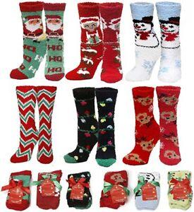 Women's Soft Fuzzy Sock, Holiday Christmas Slipper Socks, Snowflake Fuzzy Socks