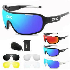 POC UV400 Biker Glasses Sunglasses Polarized Cycling Glasses W/ 4pc Replace UK