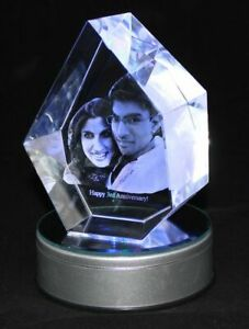 Personalised Lasered 3D Iceberg Photo Crystal 130x100x60mm