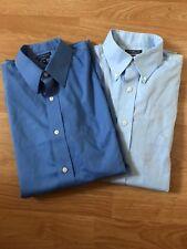2 Croft And Borrow Men's Dress Shirt Long Sleeve Size 16 34/35 Blue