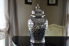 LARGE DECORATIVE CUT-OUT FLORAL TEMPLE JAR VASE - SILVER - NEW - 2 AVAILABLE