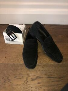 Russell Bromley Mens Black Suede Loafers 9 and Matching Belt.