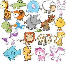 Mixed Animals Bedroom wall stickers Vinyl unicorn rabbit cat tiger bird sheep