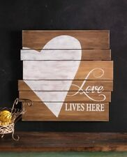 "Shabby Cottage Chic Rustic Heart Plaque ""Love Lives Here""-Ship Lap / Plank Style"