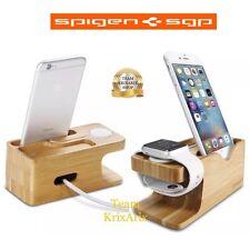 Apple Watch Stand, Spigen Universale Dock Ricarica, Legno Smart , 2 in 1, Bambù