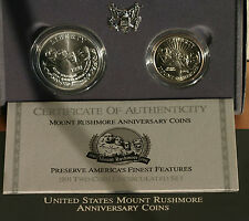 1991 Silver US Mint Mount Rushmore 2 Coin Commemorative 90% BU Dollar & Half Set