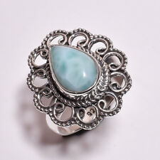 925 Sterling Silver Ring Size UK N, Larimar Handcrafted Women Jewelry CR4315