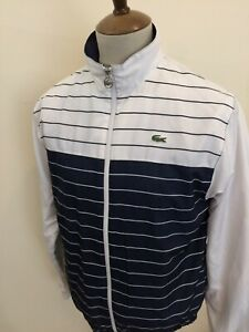 """LACOSTE TRACKSUIT TOP SIZE SMALL / MEDIUM No3 40"""" CHEST WHITE / BLUE"""