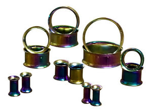 PAIR Plated Steel Double Flare Tunnels Ear Plugs Earlets Gauges