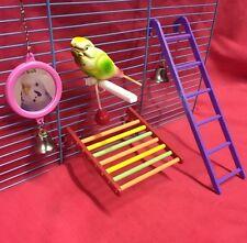 Pájaro Juguetes Escalera Espejo Bell & plataforma de aterrizaje Perca Buddy Budgie Canary Finch