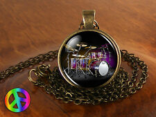 Handmade Music Lovers Drums Drummer Fashion Glass Pendant Necklace Jewelry Gift