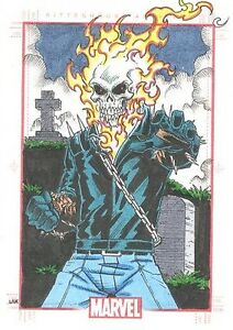 2014 Marvel 75th Anniversary Ghost Rider Color Sketch Card By Lak Lim SketchaFEX