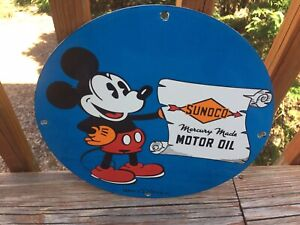 """Vintage Sunoco Motor Oil Mickey Mouse Gas & Oil Heavy Porcelain Sign 12"""""""