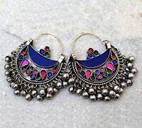 Blue Afghan Kuchi Earrings Crescent Tribal Jewelry Bohemian Ethnic Boho Bells