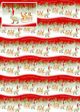 Goose & Gosling on sledge in snow Geese Xmas gift wrap 6 sheets & 6 tags