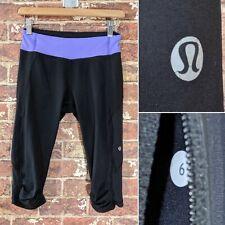 Lululemon sz 6 Capri Leggings Black Purple Lavender Gym Exercise