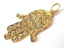 14K Gold Filigree Hamsa Hand Charm Pendant Handwrought Kabbalah Yellow Good Luck