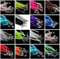 20Pcs Organza Ribbon & Cord Necklace - Lobster Clasps Necklace Making Chains