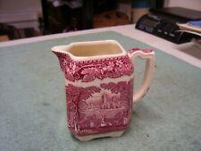 Mason's VISTA Ironstone China Pink / Red  Square Creamer Transferware