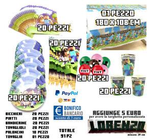 Kit Minecraft Party 20 bambini 92 pezzi  targhetta NOME DEL BAMBINO