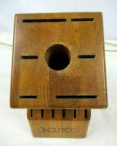 CUTCO 13-Slot Wood Knife Block~12 Knife Slots + Sharpener Hole ~ Made in the USA