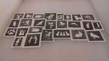 30 x cute & funny animals mini small stencils for glitter tattoos / airbrush