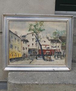 Grethe Jacobsen (1912) Lively scene at place du tertre. Paris. Dated 1951.
