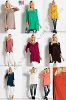 Women USA Plus 3/4 Sleeve Trapeze Drape Tunic Top Shirt Dress Colors