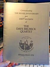 Vintage 1976 Dave Brubeck Quartet First Reunion Silver Anniv. Concert Program