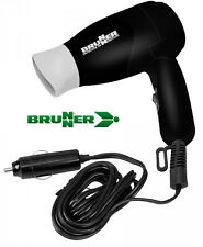 BRUNNER Travel Hairdryer 12V 168W Foldable Black for Camper Motorhome Festivals