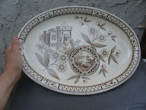 Antique Aesthetic Movement Oval Platter Hill Pottery Norman Brown White 15 1/2""
