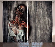 Zombie Curtains Angry Dead Woman Window Drapes 2 Panel Set 108x63 Inches