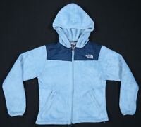 The North Face TNF Osito Spell Out Blue Fleece Hooded Full Zip Womens Jacket S