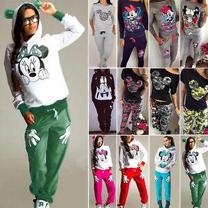 Damen Mickey Mouse Jogginghose Trainingsanzug Pullover Top Sport Loungewear Set